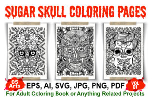 Sugar Skull Coloring Pages - Vol 01 Graphic Coloring Pages & Books Adults By XpertDesigner