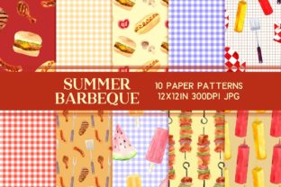 Print on Demand: Summer Barbecue Scrapbook Paper Set Graphic Patterns By roselocket
