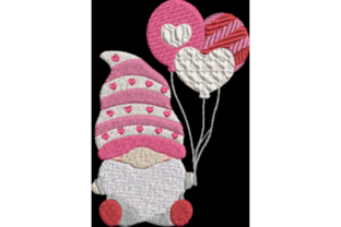 Valentine Gnome with Balloons Valentine's Day Embroidery Design By Wingsical Whims Designs
