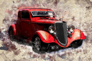 Print on Demand: Vintage Car Printables 300 Dpi Pack 30 Graphic Illustrations By The leaves river