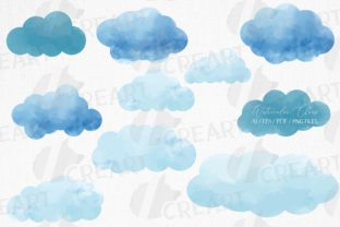 Print on Demand: Watercolor Clouds Printable Decoration. Graphic Product Mockups By CreartGraphics