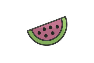 Watermelon Slice Cut Food & Dining Embroidery Design By DigitEMB