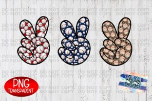 Print on Demand: Baseball Pattern Peace Hands Sublimation Gráfico Ilustraciones Por Lori Lou Designs