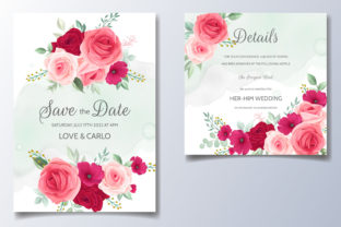 Beautiful Spring Floral Wedding Card Graphic Print Templates By dinomikael01