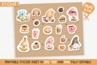 Print on Demand: Coffee Gnomes Sticker Graphic Illustrations By Chonnieartwork
