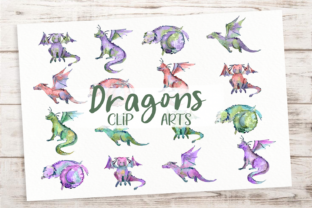 Print on Demand: Cute Colored Dragons Clip Art Set Graphic Illustrations By tatibordiu