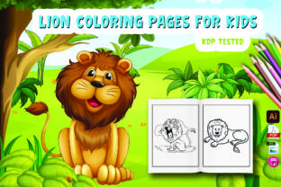 Cute Lion Coloring Page for Kids Graphic Coloring Pages & Books Kids By Moonz Coloring