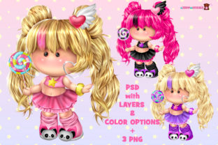 Print on Demand: Cute Pummy Doll with Lollipop Graphic Illustrations By ladymishka