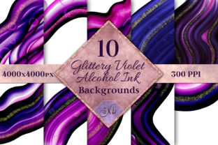 Print on Demand: Glittery Violet Alcohol Ink Backgrounds Graphic Backgrounds By SapphireXDesigns
