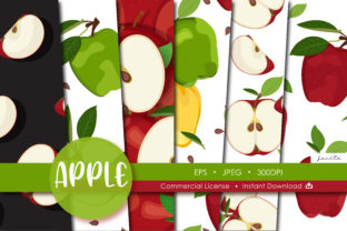 Print on Demand: Apples Seamless Pattern Fruit Background Graphic Patterns By jannta