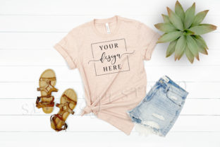 Prism Peach Bella Canvas Shirt Mockup Graphic Product Mockups By SlyDesignStudio