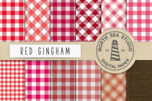 Print on Demand: Red Gingham Digital Paper Graphic Backgrounds By northseastudio