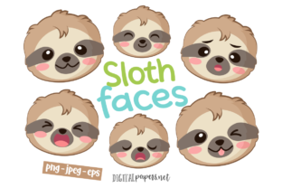 Print on Demand: Sloth Faces Clipart Set Graphic Illustrations By DigitalPapers