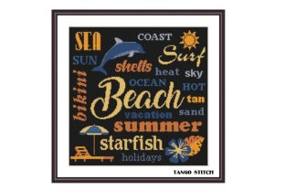 Print on Demand: Summer Beach Letters Cross Stitch Graphic Cross Stitch Patterns By Tango Stitch