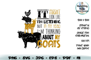 Print on Demand: Thinking About My Goats Graphic Crafts By RamblingBoho