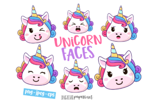 Print on Demand: Unicorn Faces Clipart Set Graphic Illustrations By DigitalPapers