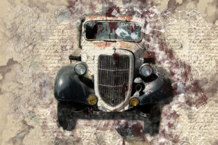 Print on Demand: Vintage Car Printables 300 Dpi Pack 34 Graphic Illustrations By The leaves river