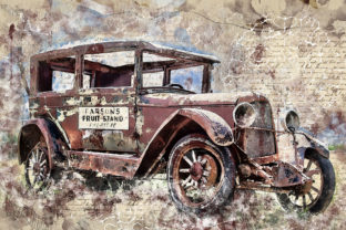 Print on Demand: Vintage Car Printables 300 Dpi Pack 35 Graphic Illustrations By The leaves river