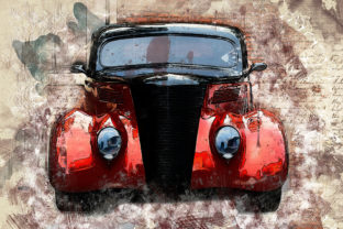 Print on Demand: Vintage Car Printables 300 Dpi Pack 36 Graphic Illustrations By The leaves river