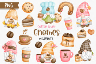 Print on Demand: Watercolor Coffee Gnomes Clipart Graphic Illustrations By Chonnieartwork