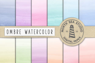 Print on Demand: Watercolor Ombre Paper Graphic Backgrounds By northseastudio
