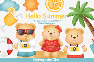 Print on Demand: Watercolor Summer Elements Clipart. Graphic Illustrations By nattapohncha
