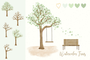 Print on Demand: Watercolor Tree with Sage Green Hearts Graphic Illustrations By vivera