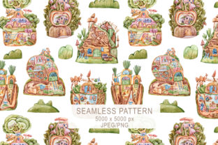 Print on Demand: Watercolor Cute Houses Seamless Pattern Graphic Patterns By Tiana Geo