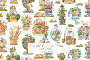 Print on Demand: Watercolor Cute Houses Seamless Patterns Graphic Patterns By Tiana Geo