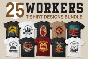 Print on Demand: Workers and Labor T-shirt Designs Bundle Graphic Print Templates By Universtock