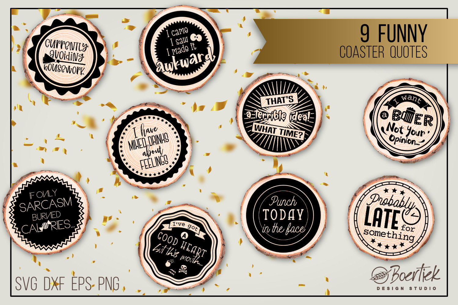 9 Funny Coaster Quotes SVG File