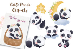 Print on Demand: Adorable Panda Cliparts Set for Nursery Graphic Illustrations By DrawStudio1988