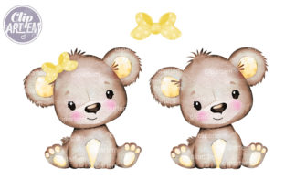 Print on Demand: Baby Bear Yellow Bow PNG Clip Art Vector Graphic Illustrations By clipArtem