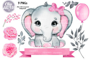 Print on Demand: Baby Elephant Girl Pink Bundle Clip Art Graphic Illustrations By clipArtem