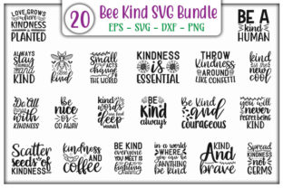 Print on Demand: Bee Kind SVG Design Bundle Graphic Print Templates By GraphicsBooth