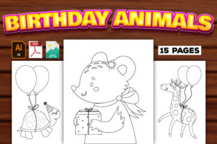 Print on Demand: Birthday Animals Coloring Pages Graphic Coloring Pages & Books Kids By Trend Color