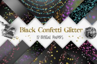 Print on Demand: Black Confetti Glitter Background Graphic Backgrounds By PinkPearly