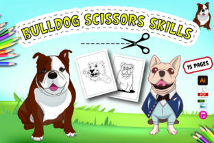 Bulldog Scissors Skills Activity for Kdp Graphic Coloring Pages & Books Kids By Moonz Coloring