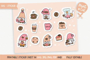 Print on Demand: Coffee Gnome Sticker SVG Graphic Illustrations By Chonnieartwork