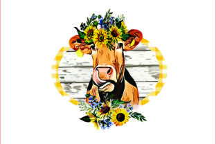 Cow with Sunflower,PNG, Sublimation Graphic Graphic Templates By AlaBala
