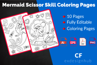 Mermaid Scissor Skill Coloring Pages Graphic Coloring Pages & Books Kids By exdesignhub