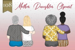 Print on Demand: Mother's Day Clipart Mom and Daughter Graphic Illustrations By Grafixeo