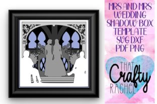 Mrs and Mrs Wedding Shadow Box Template Graphic 3D Shadow Box By That Crafty Rachel