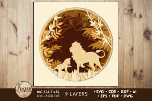 Multilayer Cut File PANEL LION Graphic 3D SVG By LaserCutano