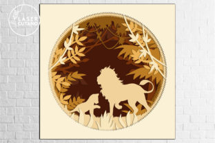 Print on Demand: Multilayer Cut File PANEL LION Graphic 3D SVG By LaserCutano 2