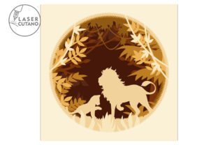 Print on Demand: Multilayer Cut File PANEL LION Graphic 3D SVG By LaserCutano 3