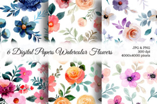 Print on Demand: Seamless Pattern Floral Watercolor 142 Graphic Patterns By asrulaqroni