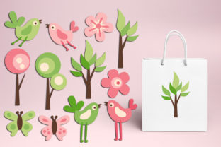 Print on Demand: Spring Garden Pink Lime Graphic Illustrations By Revidevi