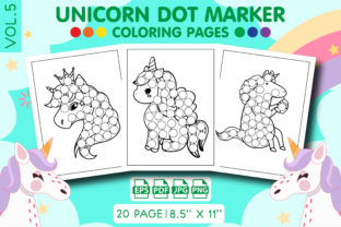 Unicorn Dot Marker Coloring Pages Vol. 5 Graphic KDP Interiors By Vibgyor