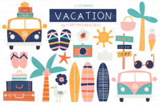 Print on Demand: Vacation Clipart Set Graphic Illustrations By poppymoondesign